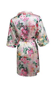 Pastel Floral Robe with Pink Glitter Bridesmaid DANIRB-BM-FUGL