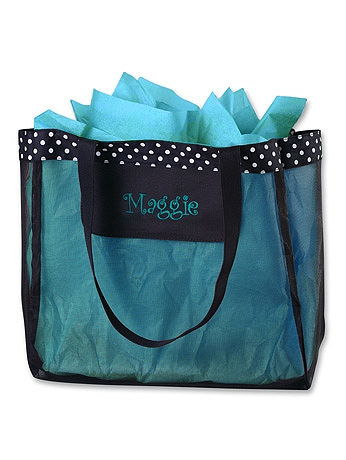 DB Exclusive Personalized Black Dot Mesh Tote 4118-1115