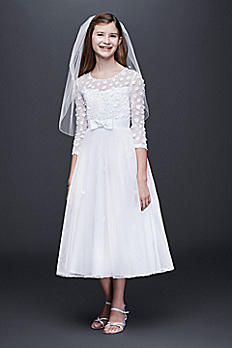 Long Sleeve Tulle Communion Dress with 3D Flowers R78809DL