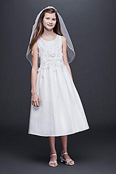 Sleeveless Tulle Communion Dress with 3D Flowers R78860DV