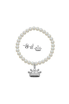 Crystal Tiara and Pearl Bracelet and Earrings Set R9A9WP90WL