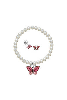 Crystal Butterfly and Pearl Bracelet and Earrings R9A9WQ90WL