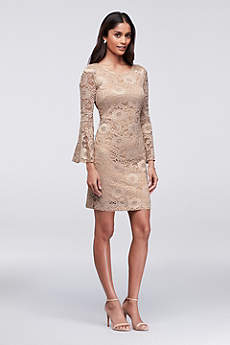 Short Sheath Long Sleeves Cocktail And Party Dress