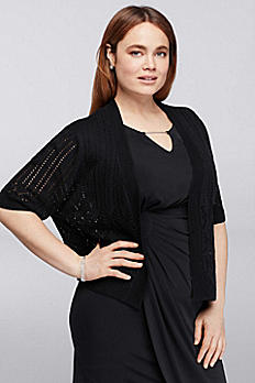Plus Size Knit Shrug with Elbow Length Sleeves RB42207