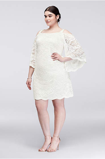 Mid-length lace dress with plunging neckline in white/silver