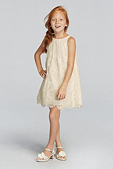 Sleeveless All Over Lace Dress with Scalloped Hem RK1361