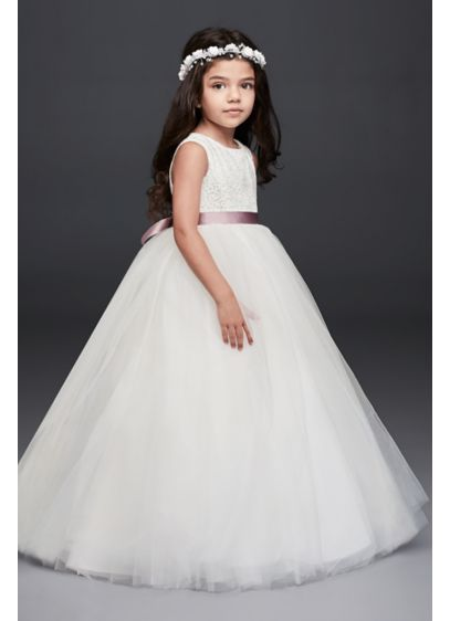 Ball gown flower girl dress with heart cutout davids bridal long ballgown tank communion dress davids bridal mightylinksfo