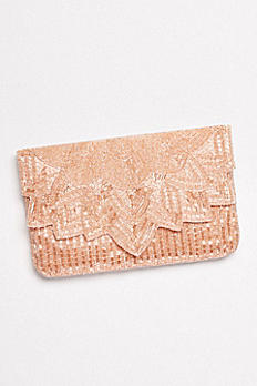 Allover Seed Bead Clutch with Scalloped Flap RL40170