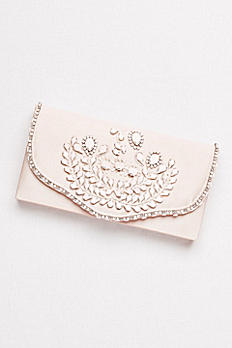 Hard-Sided Satin Clutch with White Beading RL40178