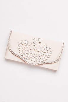 Hard-Sided Satin Clutch with White Beading