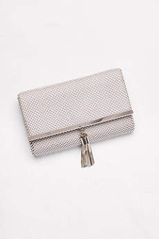 Tassled Metal Mesh Clutch