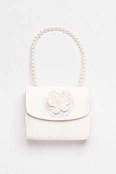 Pearl-Handled Satin Flower Girl Purse RLAG12094