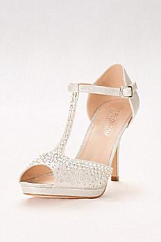 Crystal-Embellished Peep-Toe T-Strap Heels ROBIN-211