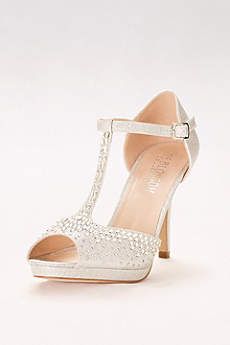 Blossom Beige Open Toe Shoes (Crystal-Embellished Peep-Toe T-Strap Heels)