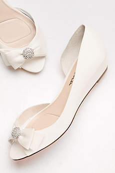 Touch of Nina Blue (Satin D'Orsay Wedges with Embellished Bow)