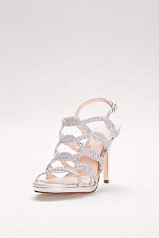 Touch of Nina Grey Peep Toe Shoes (Crystal-Embellished Caged Platform Heels)