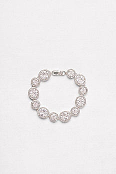Round and Oval Solitaire Halo Bracelet S0394