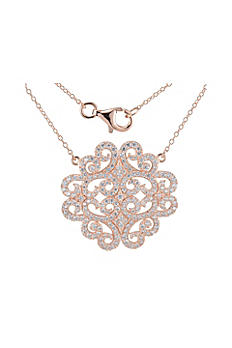 Rose Gold and Cubic Zirconia Medallion Necklace S0A54L0048