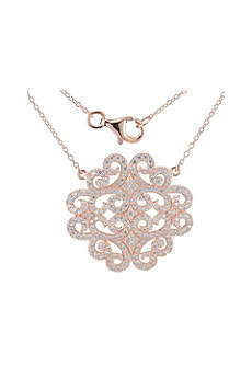 Rose Gold and Cubic Zirconia Medallion Necklace
