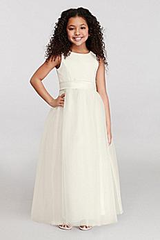 Satin Flower Girl Dress with Tulle Skirt S1038