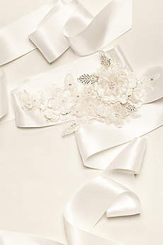 Satin 3D Floral Ribbon Sash