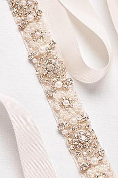 Pearl and Rhinestone Grosgrain Ribbon Sash S2038