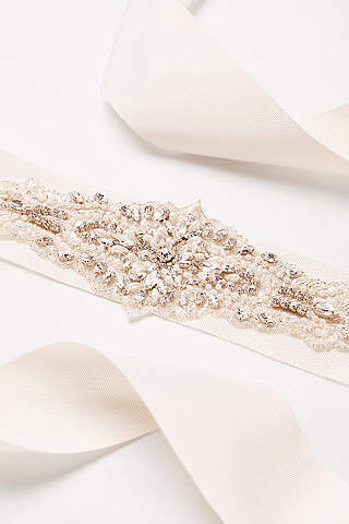 Wide Grosgrain Ribbon Sash With Statement Beading