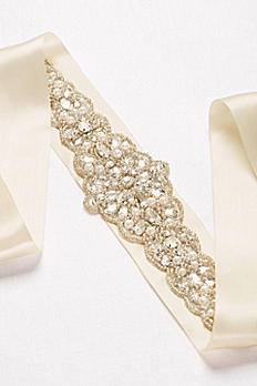 Wide Satin Ribbon Sash with Seed Bead Detailing S2044
