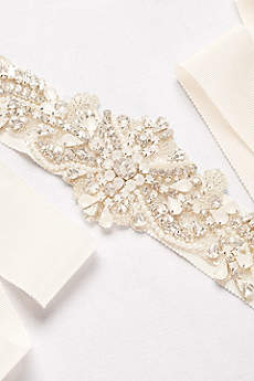 Jeweled Waves Grosgrain Ribbon Sash