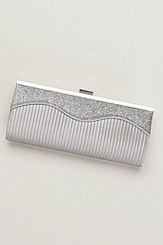 Wave Sparkle and Satin Pleated Clutch S2068F