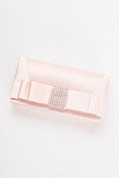 Rhinestone Bow Satin Clutch S2131J