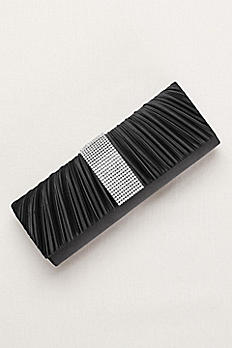 Pleated Clutch with Crystal Center S2132J