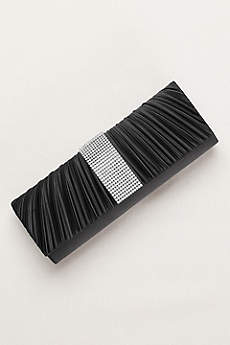 Pleated Clutch with Crystal Center