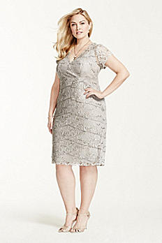 Lace Cap Sleeve Dress with Sequin S356930