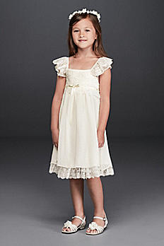 Boho Flutter Sleeve Lace Flower Girl Dress S36619DS