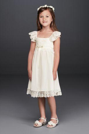 Short Lace Ivory Flower Girl Dresses