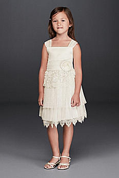 Lace Flower Girl Dress with Rosette Detail S36867DV