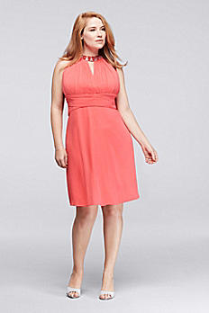 Above the Knee Plus Size Dress with Halter Neck S374830