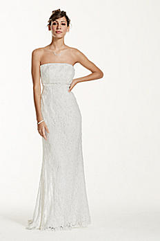 Allover Beaded Lace Sheath Gown with Empire Waist S8551