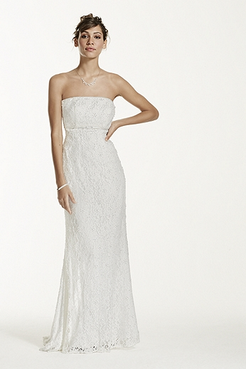 Allover Beaded Lace Sheath Gown with Empire Waist. S8551