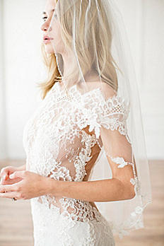 Alencon Lace Appliqued Scalloped Fingertip Veil SABRINA
