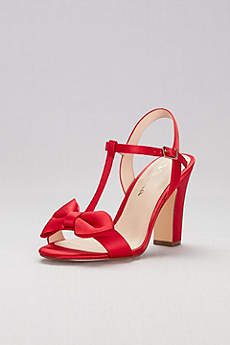 Nina Pink Peep Toe Shoes (Satin T-Strap Block Heel Sandals with Bow)