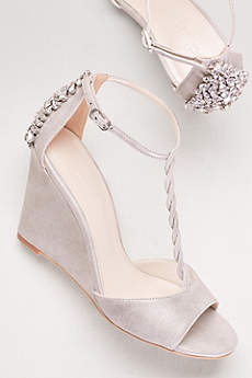 David's Bridal Grey Wedge Shoes (Braided T-Strap Wedges with Crystals)