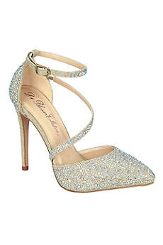 Blossom Beige Pumps (Rhinestone Pointy Toe Heels with Diagonal Strap)