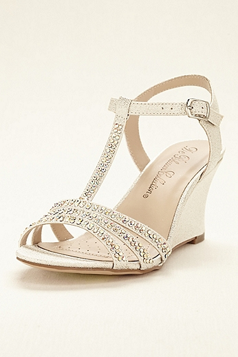 T-Strap Wedge Sandal with Crystal Embellishments SANYA8