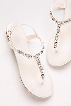 David's Bridal Grey Sandals (Pearl and Crystal T-Strap Sandals)