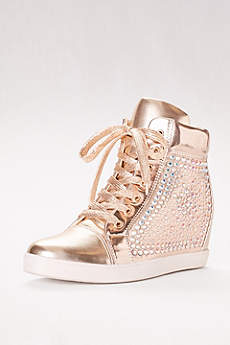 Blossom Grey Casual Shoes (High-Top Metallic Sneaker with Built-In Heel)