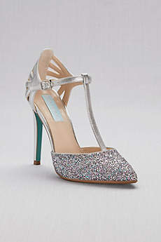 Blue By Betsey Johnson Grey Closed Toe Shoes (Glitter and Metallic T-Strap Pointed-Toe Pumps)