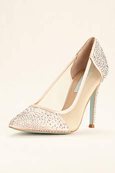 Blue By Betsey Johnson Ivory Closed Toe Shoes (Blue by Betsey Johnson Mesh Crystal Studded Pumps)