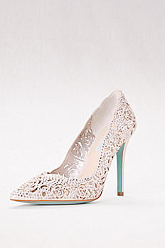 Crystal Embellished Laser-Cut Pointed Toe Pumps SBEMILY